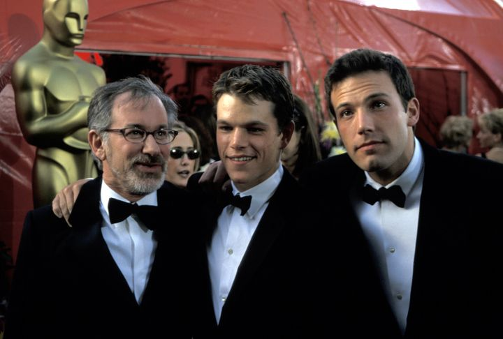 Steven Spielberg, Matt Damon and Ben Affleck arrive at the 1999 Oscars, where