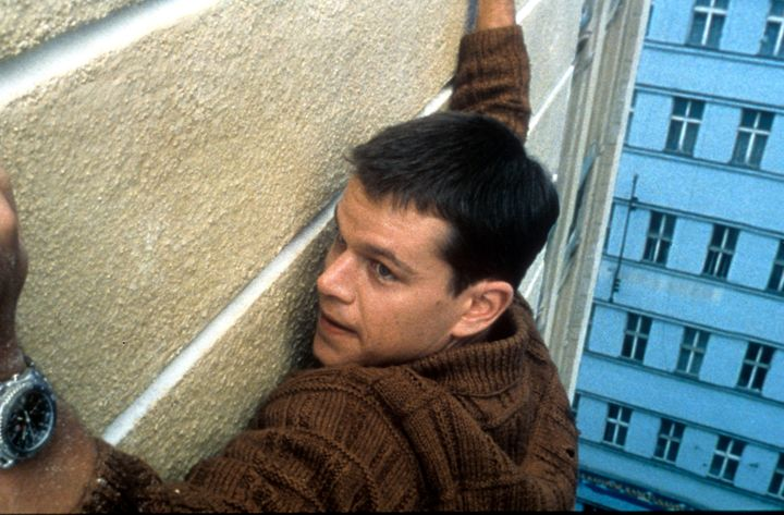 "Matt Damon hangs on in ""The Bourne Identity,"" which launched the franchise in 2001."