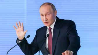 MOSCOW, RUSSIA  MARCH 1, 2018: Russia's President Vladimir Putin delivers an annual address to the Federal Assembly of the Russian Federation, at Moscow's Manezh Central Exhibition Hall; the Federal Assembly of Russia consists of the State Duma of Russia and the Federation Council of Russia. Mikhail Metzel/TASS (Photo by Mikhail Metzel\TASS via Getty Images)