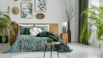 Stool on white round carpet in green bedroom with lamp on wooden stool next to king-size bed