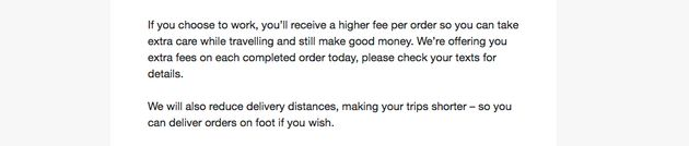 In an email to riders, Deliveroo says its extra payments are 'so you can take extra care while