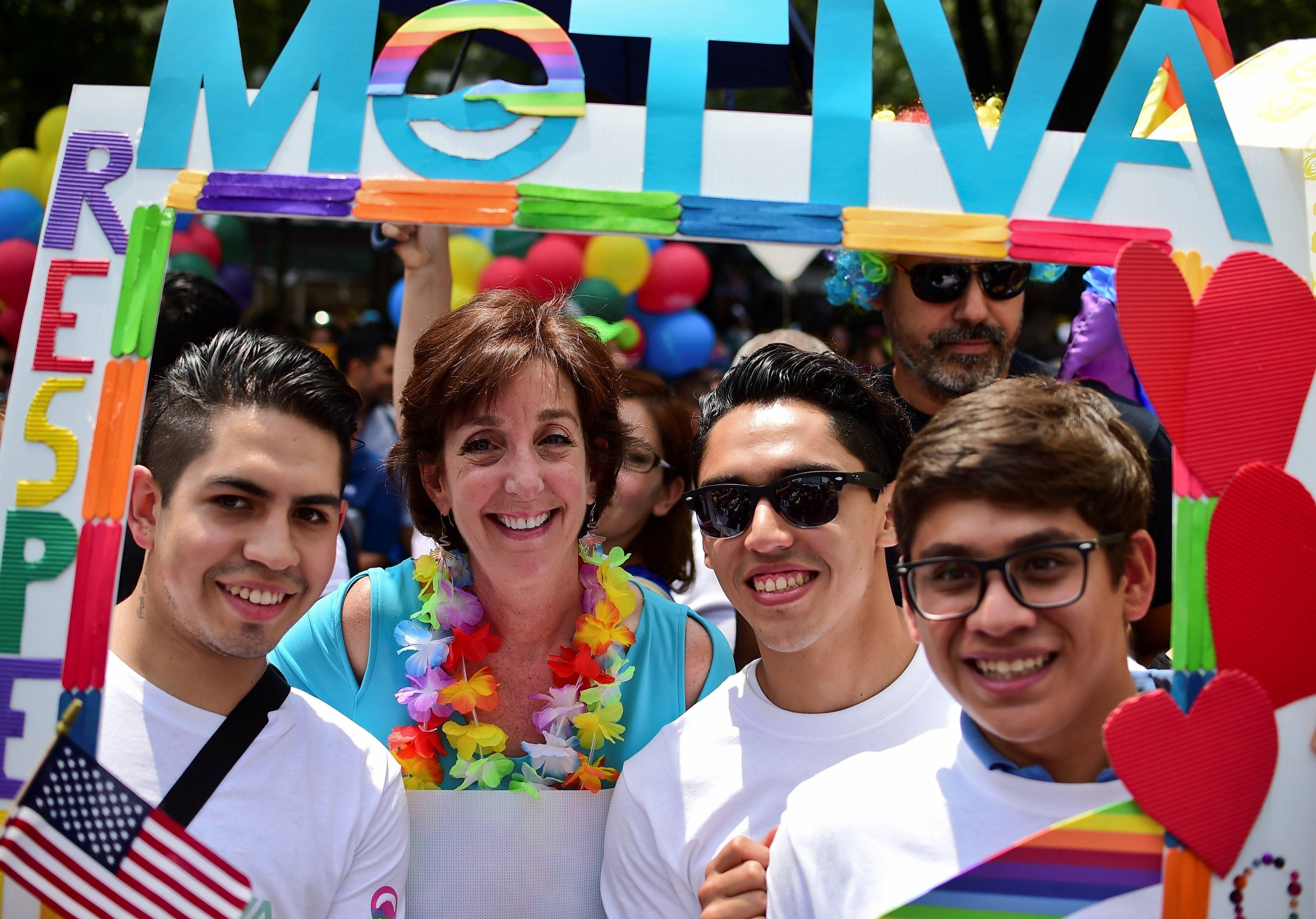 US Ambassador to Mexico, Roberta Jacobson (2-L), takes part in the Gay Pride Parade in Mexico City, on June 25, 2016.  Thousands of people took to the streets in the Mexican capital to participate in the parade. / AFP / RONALDO SCHEMIDT        (Photo credit should read RONALDO SCHEMIDT/AFP/Getty Images)