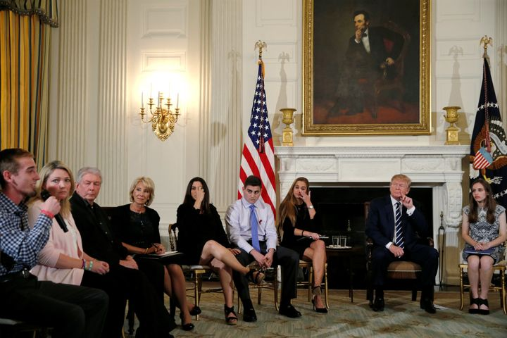 "President Donald Trump held a ""listening"" session with school shooting survivors and others at the White House on Feb. 21, 20"