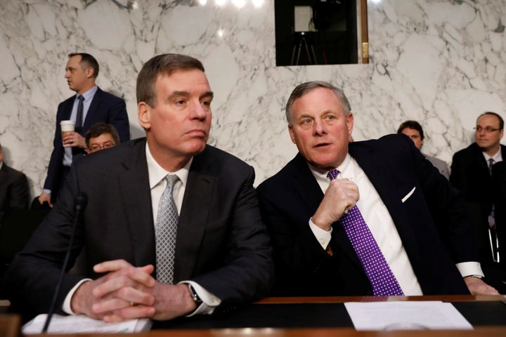 Democratic Sen. Mark Warner of Virginia (left) and Sen. Richard Burr, a North Carolina Republican, spoke to House Speaker Paul Ryan (R-Wis.) about their concerns over the leak, according to The New York Times.
