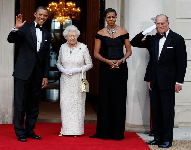 President Barack Obama and first lady Michelle Obama appear with Queen Elizabeth and Prince Philip on...