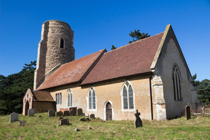 All Saints Church in the village of Ramsholt is an example of a traditional round-tower church in Suffolk, England.