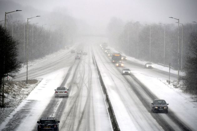 Snow settles on the A48 in to Cardiff, as blizzards are hitting parts of the UK, as freezing conditions...