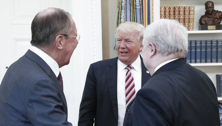 Russian Foreign Minister Sergey Lavrov, U.S. President Donald Trump and Russian Ambassador Sergey Kislyakmeet in the Ov