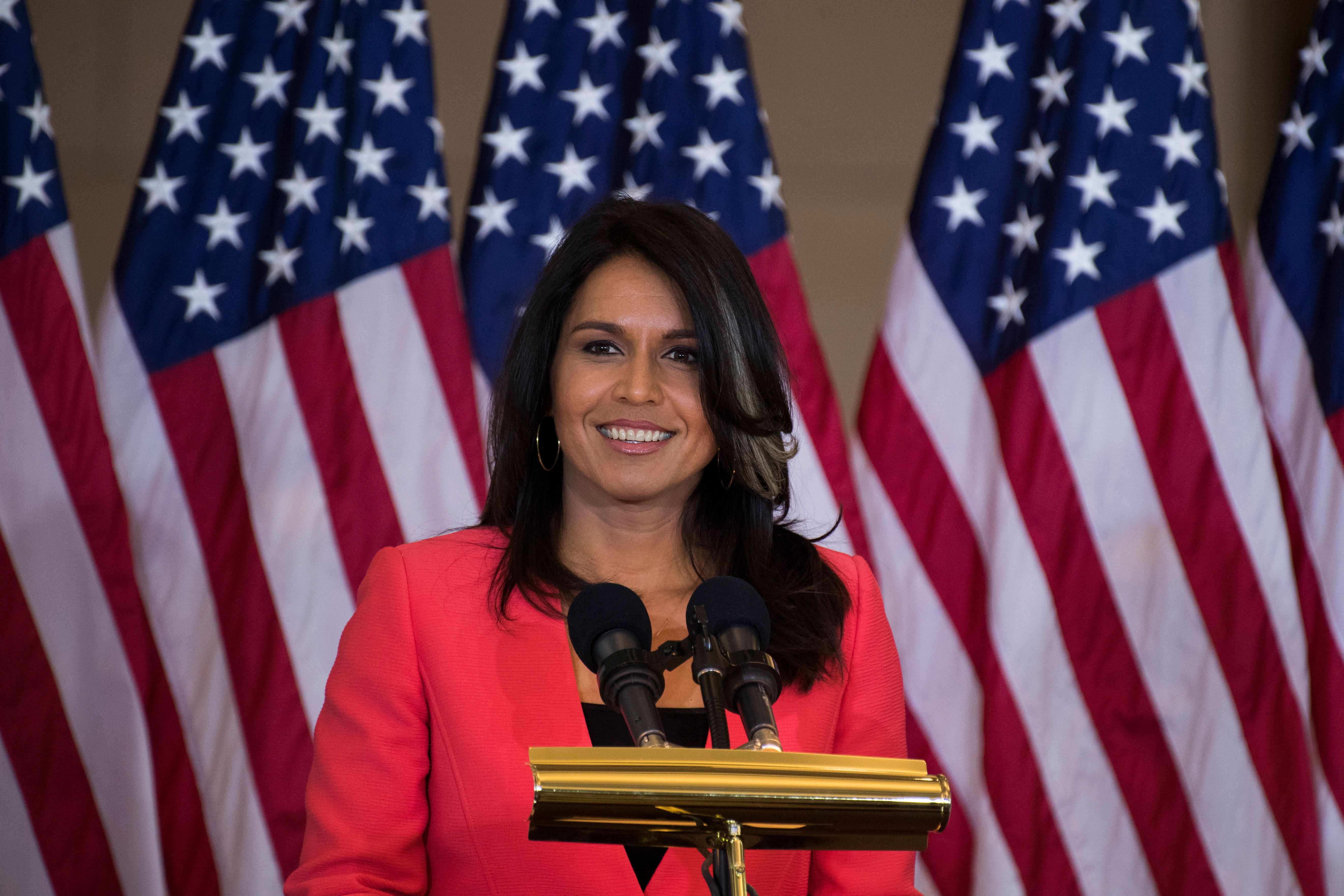 Rep. Tulsi Gabbard (D-Hawaii), here at a Washington ceremony last fall, says she has asked to be listed as a co-sponsor of th