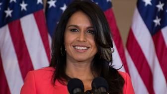 UNITED STATES - OCTOBER 25: Rep. Tulsi Gabbard, D-Hawaii, attends a Congressional Gold Medal ceremony in Emancipation Hall to honor Filipino veterans of World War II on October 25, 2017. (Photo By Tom Williams/CQ Roll Call)