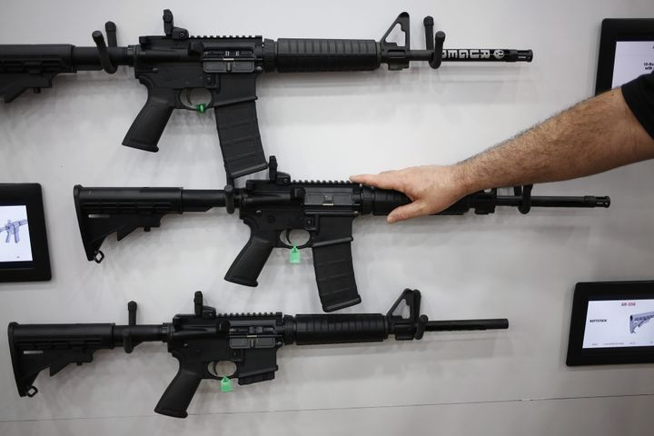 AR-15 rifles are displayed on the exhibit floor during the National Rifle Association's 2016 meeting in Louisville, Kentucky.