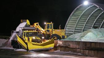 WESTON, MA - JANUARY 6: Crews were loading road salt into trucks at the Weston Depot off of the MassPike for use on roads tonight when the temperatures are expected to drop quickly. (Photo by Jim Davis/The Boston Globe via Getty Images)