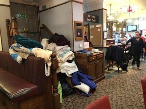 Airbeds, quilts and spare coats were supplied by generous