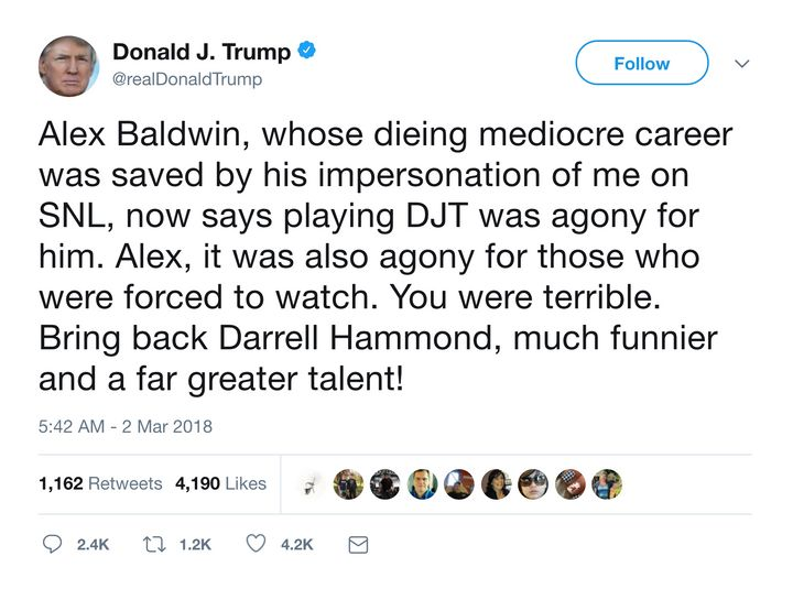 Donald Trump Attacks Alec Baldwin In Early Morning Twitter Rant Amid Week Of Chaos