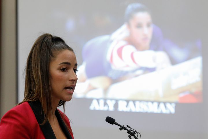 Olympic gold medalist Aly Raisman has filed a lawsuit against the U.S. Olympic Committee. Here, she speaks at the sentencing