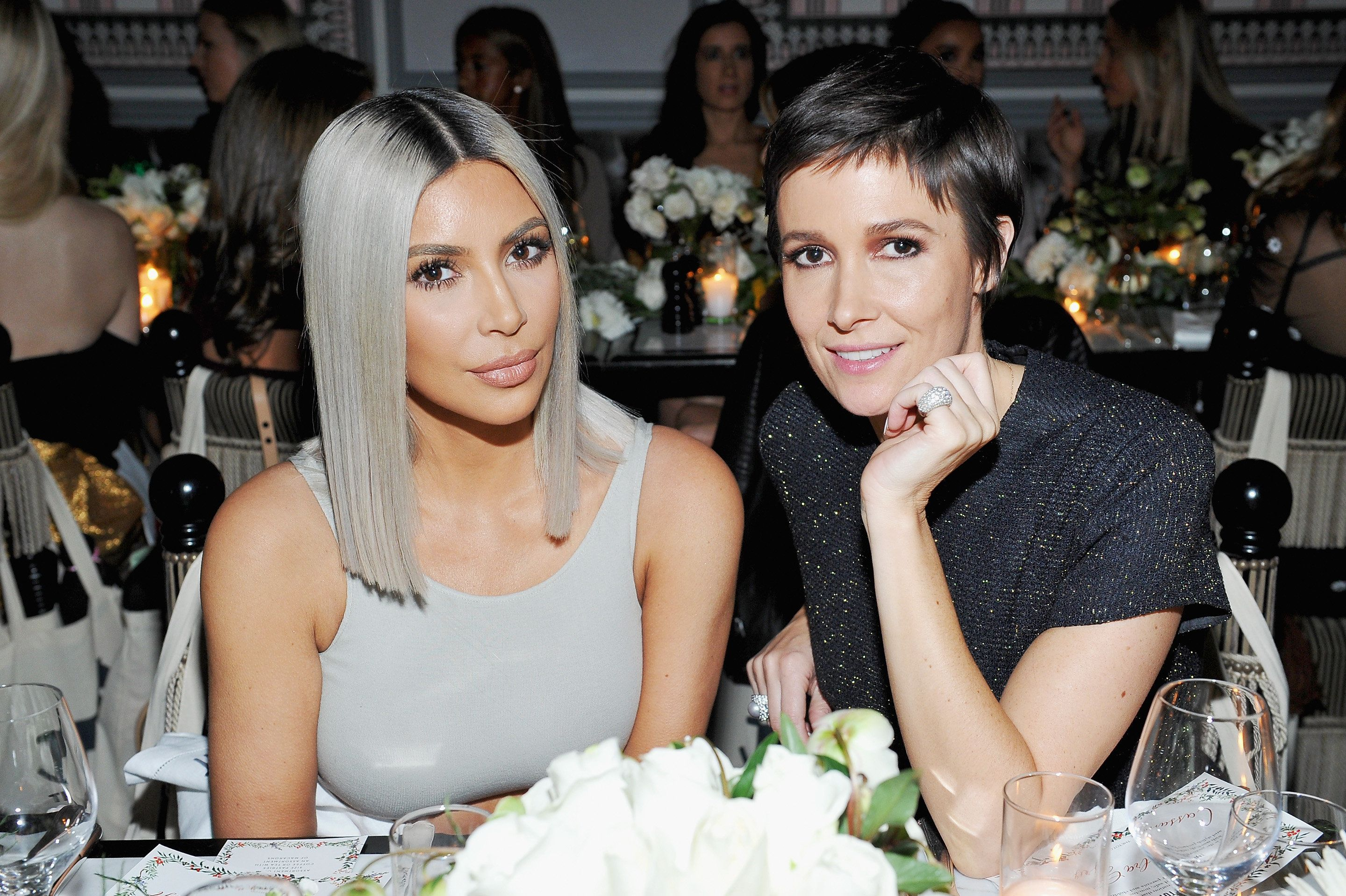 LOS ANGELES, CA - DECEMBER 04:  Kim Kardashian West (L) and Cassandra Grey attend The Tot holiday pop-up celebration at Laduree at the Grove on December 4, 2017 in Los Angeles, California.  (Photo by Donato Sardella/Getty Images for The Tot)