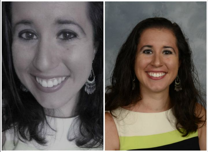 """The profile photo for the now-deleted Twitter account of """"Tiana Dalichov,"""" left, and Dayanna Volitich's staff photo on the Crystal River Middle School website, right."""