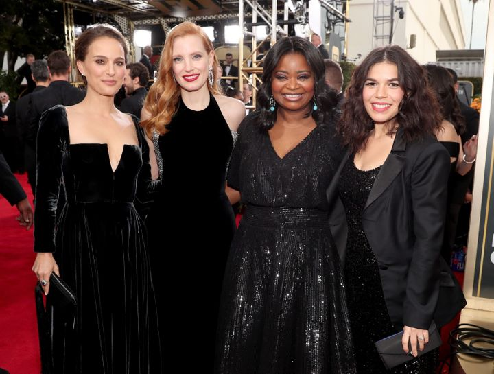 Natalie Portman, Jessica Chastain, Octavia Spencer, and America Ferrera supported a black dress code at the 2018 Golden Globes in January.