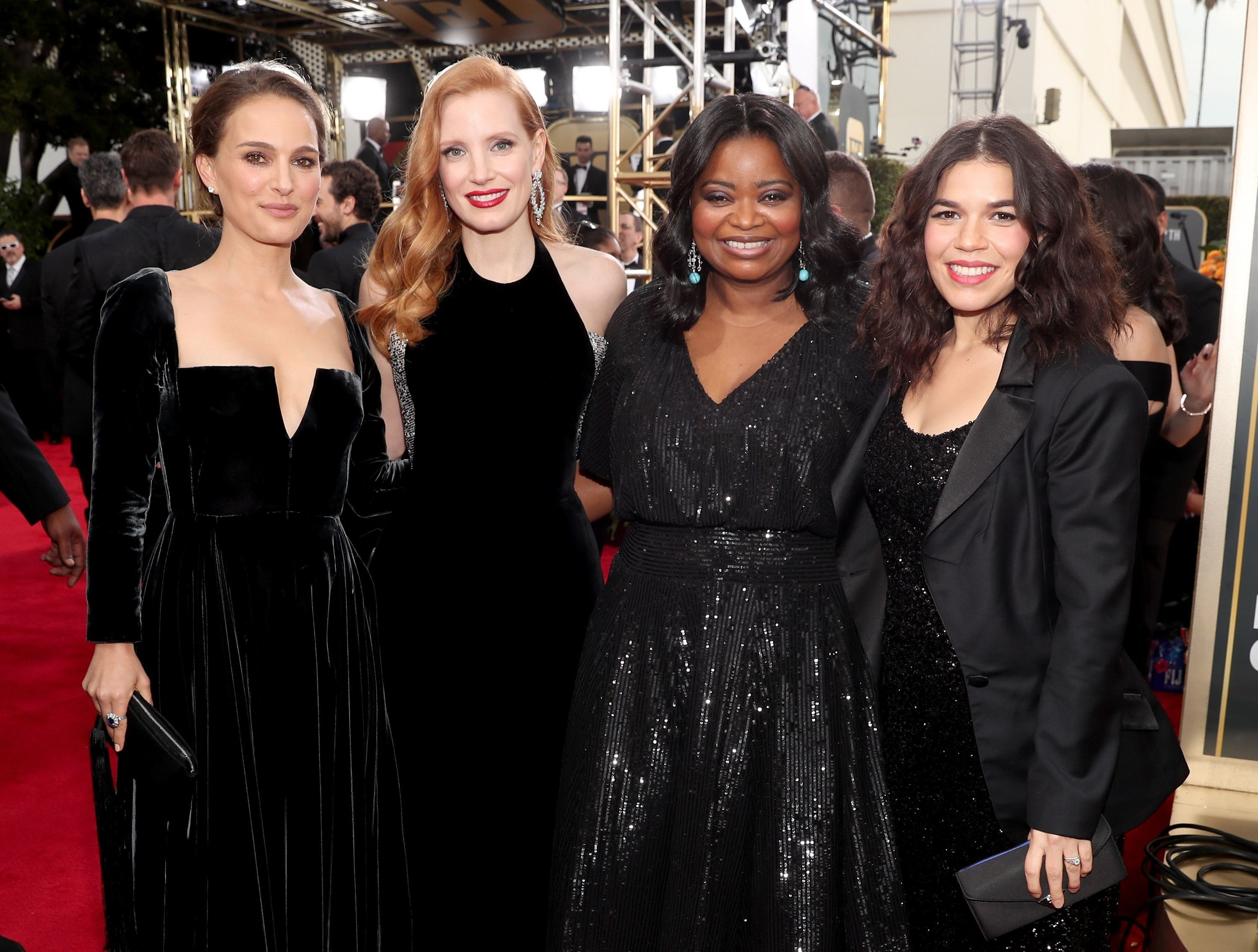 Natalie Portman, Jessica Chastain, Octavia Spencer, and America Ferrera supported a black dress code at the 2018 Golden Globe