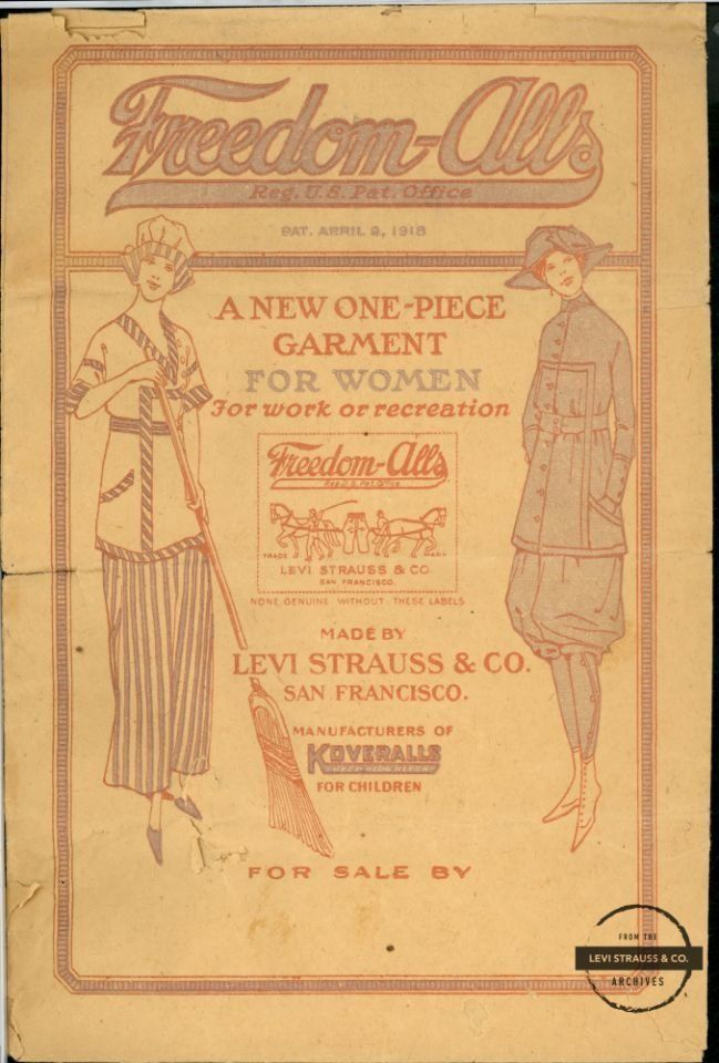 "An ad for Levi's Freedom-Alls, which debuted in 1918 as a way for women to participate more comfortably in outdoor activities at ""dude ranches,"" which were a popular vacation choice at the time. Just over a decade later, Levi's introduced ""Lady Levi's."""