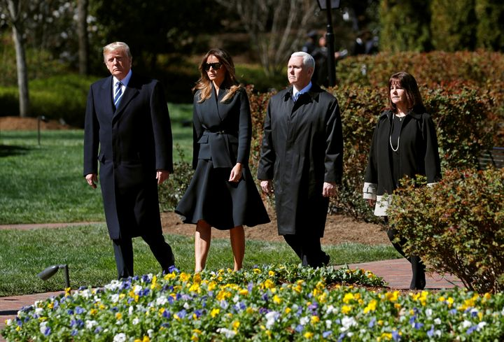 U.S. President Donald Trump, first lady Melania Trump, Vice President Mike Pence and Karen Pence attend the funeral of Rev. B