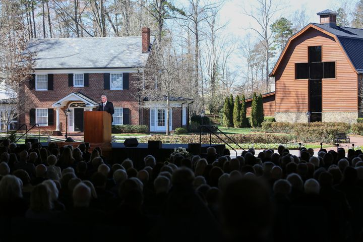 Franklin Graham gives remarks at the funeral of his father Reverend Dr. Billy Graham in Charlotte, North Carolina.&nbsp