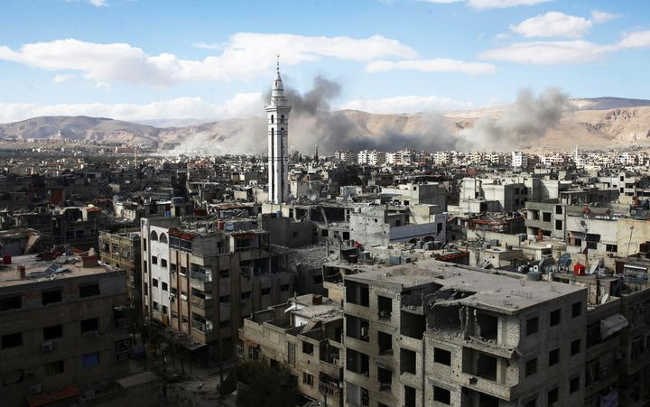 Smoke rises from besieged eastern Ghouta in Damascus, Syria, on Feb. 27, 2018.