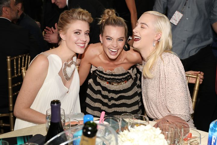 Greta Gerwig, left, Margot Robbie and Saoirse Ronan at the 23rd annual Critics' Choice Awards on Jan. 11 in Santa M