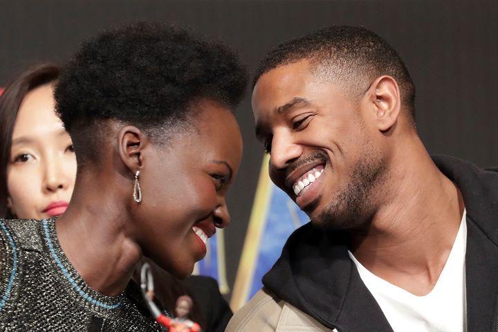 "Lupita Nyong'o and Michael B. Jordan at the South Korean premiere of ""Black Panther"" on Feb. 5."