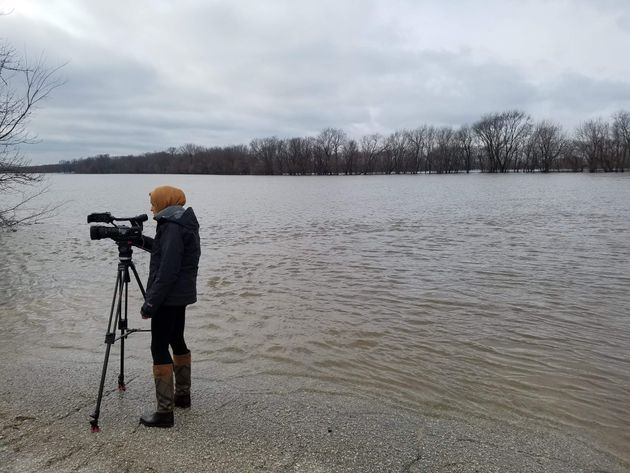 Tahera Rahman prepares a live shot as a reporter for WHBF-TV in Rock Island,
