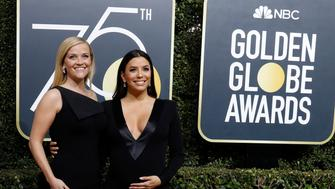 75th Golden Globe Awards – Arrivals – Beverly Hills, California, U.S., 07/01/2018 – Reese Witherspoon, Eva Longoria. REUTERS/Mario Anzuoni