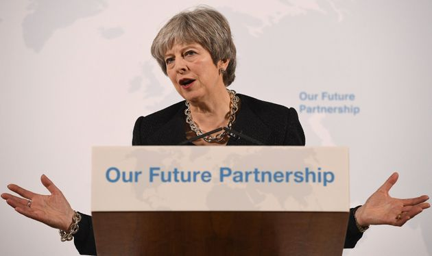 Theresa May delivers a speech at the Mansion House in London on the UK's economic partnership with the...