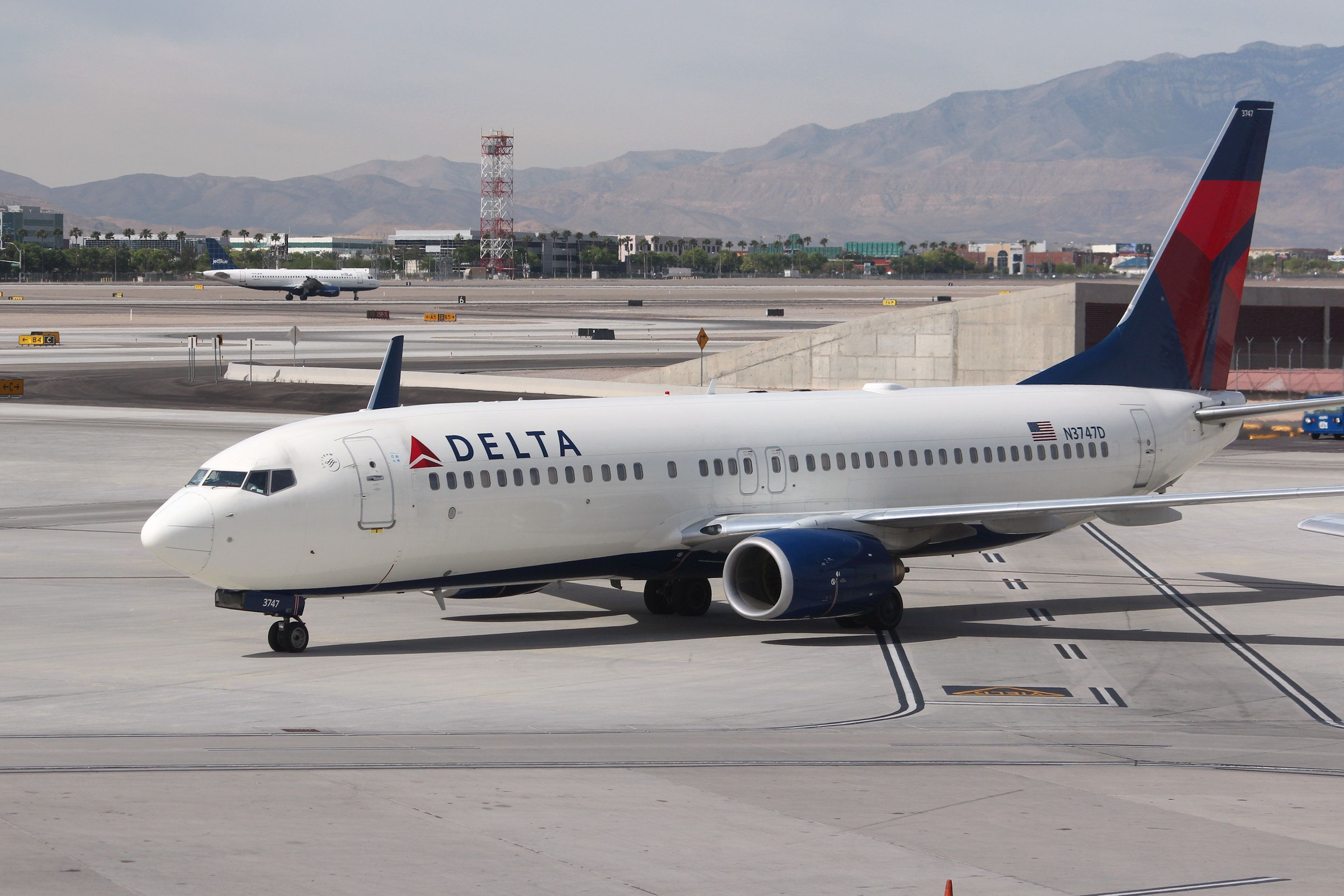 Las Vegas, United States - April 15, 2014: Boeing 737 of Delta Airlines at Las Vegas McCarran International Airport. As of 2013 Delta was the largest airline in the world with 120 million annual passengers.