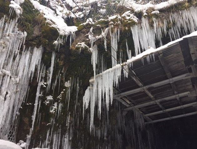 Icicles at the Bishopton tunnel as the cold weather continues around the country