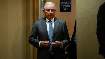 U.S. Attorney General Jeff Sessions arrives to speak during a news conference at the Department of Justice in Washington, U.S., February 22, 2018. REUTERS/Sait Serkan Gurbuz