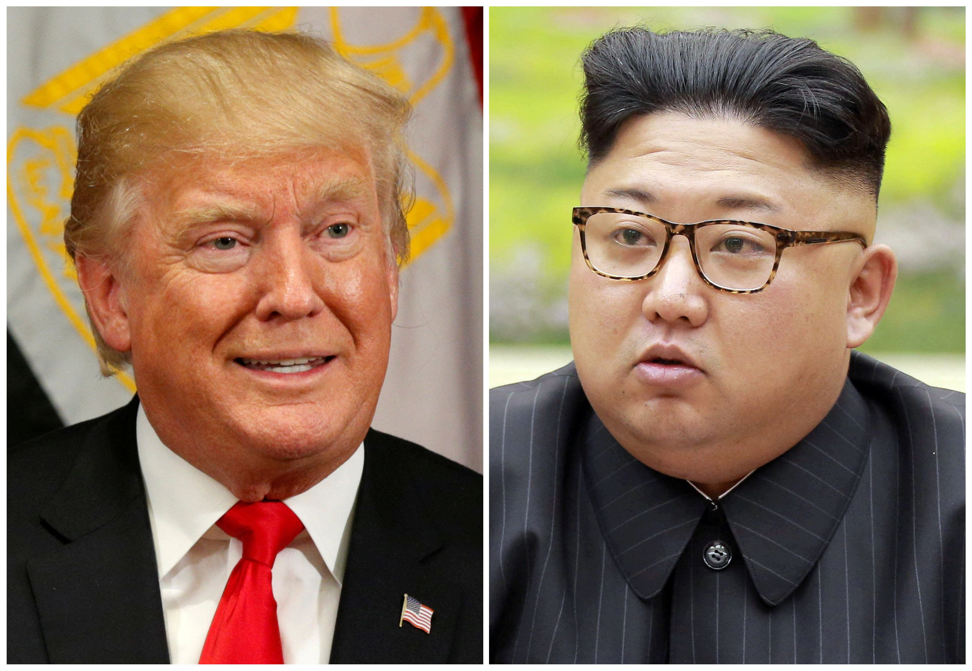 A combination photo shows U.S. President Donald Trump in New York, U.S. September 21, 2017 and North Korean leader Kim Jong Un in this undated photo released by North Korea's Korean Central News Agency (KCNA) in Pyongyang, September 4, 2017.  REUTERS/Kevin Lamarque, KCNA/Handout via REUTERS/File Photos