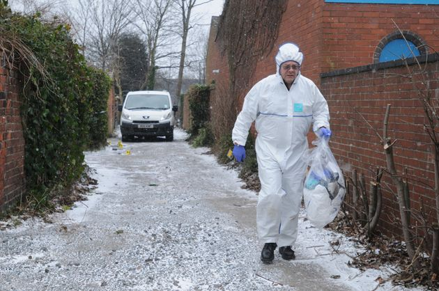 A forensic officer near the home of Anne James in Highgate area of Walsall.