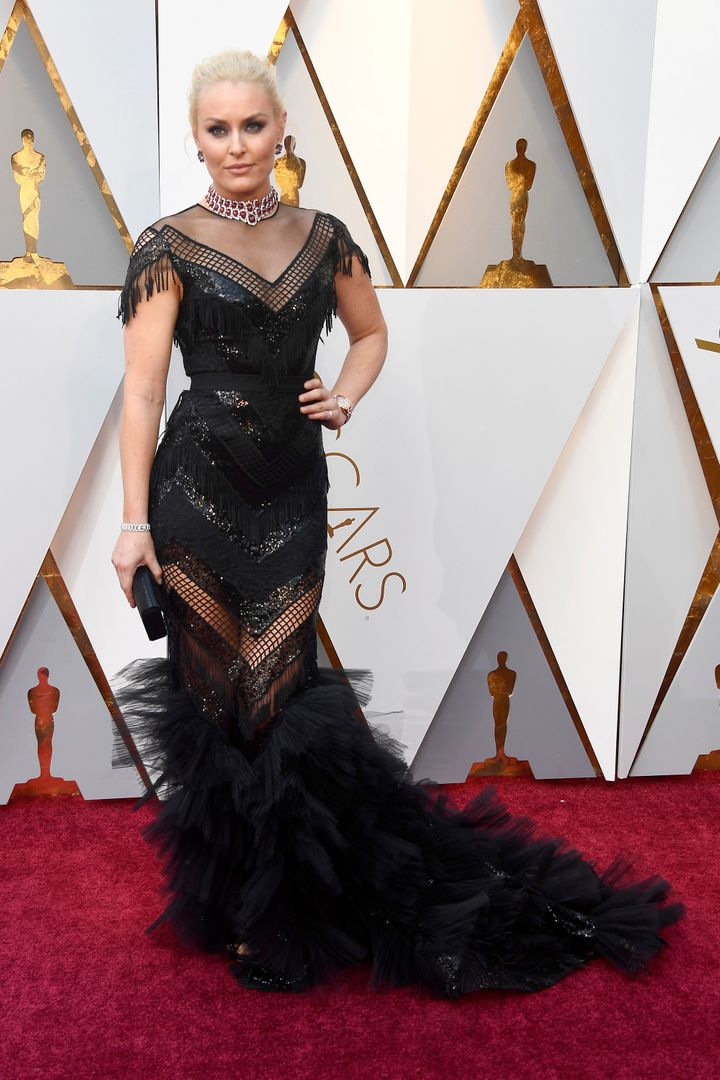 Lindsey Vonn on the Oscars red carpet.