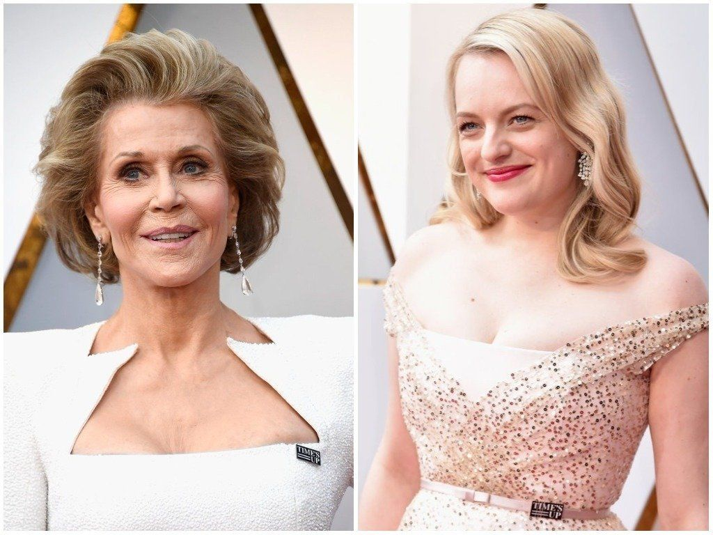 Jane Fonda And Elizabeth Moss Accessorised With Time's Up Pins At The