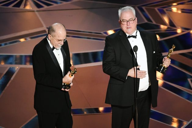 Sound designers Richard King (L) and Alex Gibson accept Best Sound Editing for 'Dunkirk' onstage during...