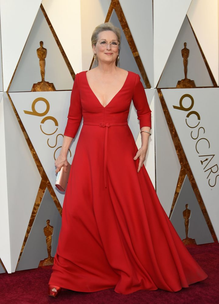 Meryl Streep on the Oscars red carpet.