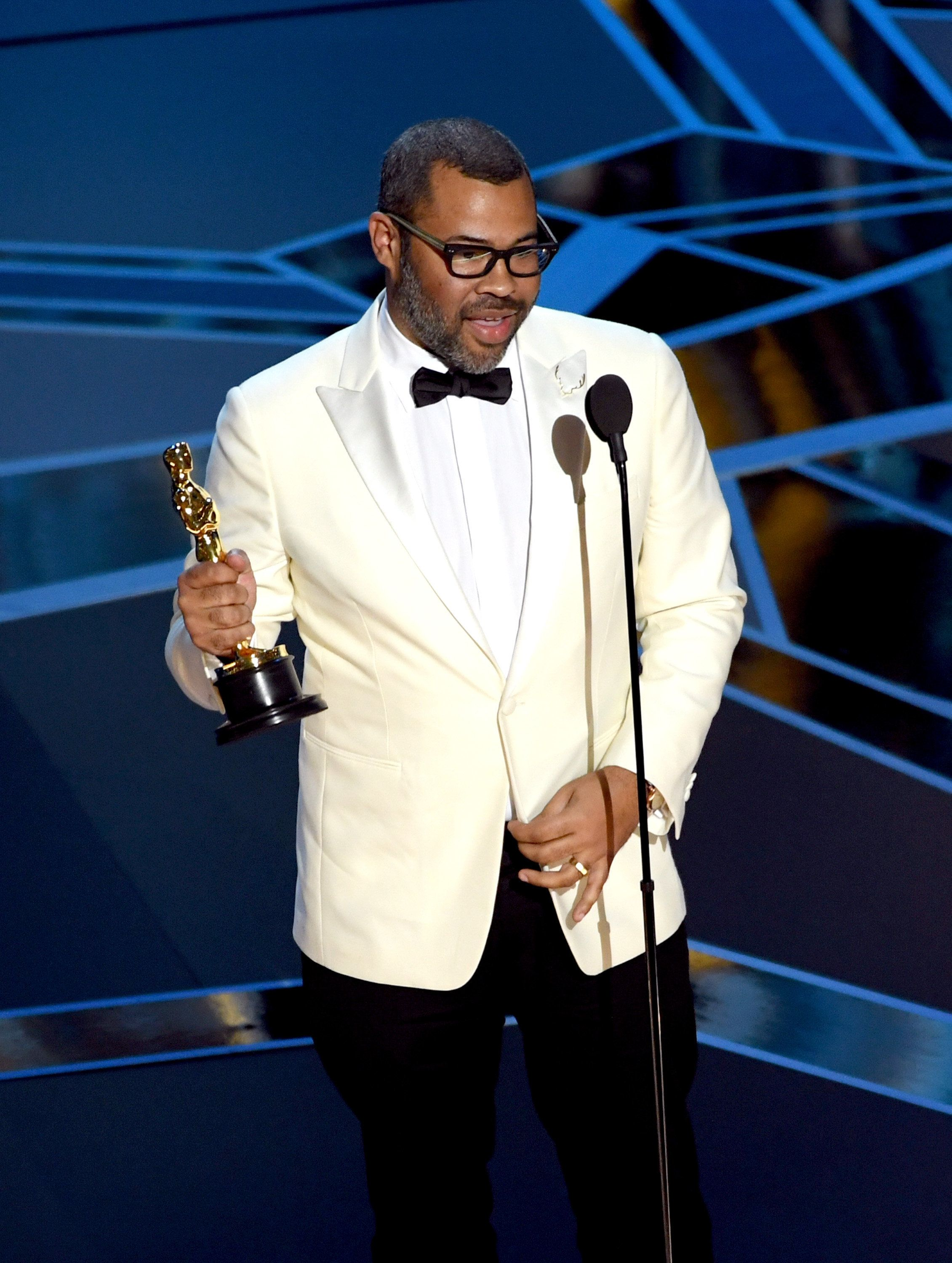 HOLLYWOOD, CA - MARCH 04:  Writer/director Jordan Peele accepts Best Original Screenplay for 'Get Out' onstage during the 90th Annual Academy Awards at the Dolby Theatre at Hollywood & Highland Center on March 4, 2018 in Hollywood, California.  (Photo by Kevin Winter/Getty Images)