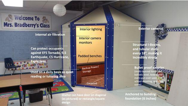 미국 초등학교 교실에 '방탄 대피소'가