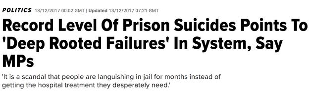 A HuffPost UK story in December 2017 on record levels of prison