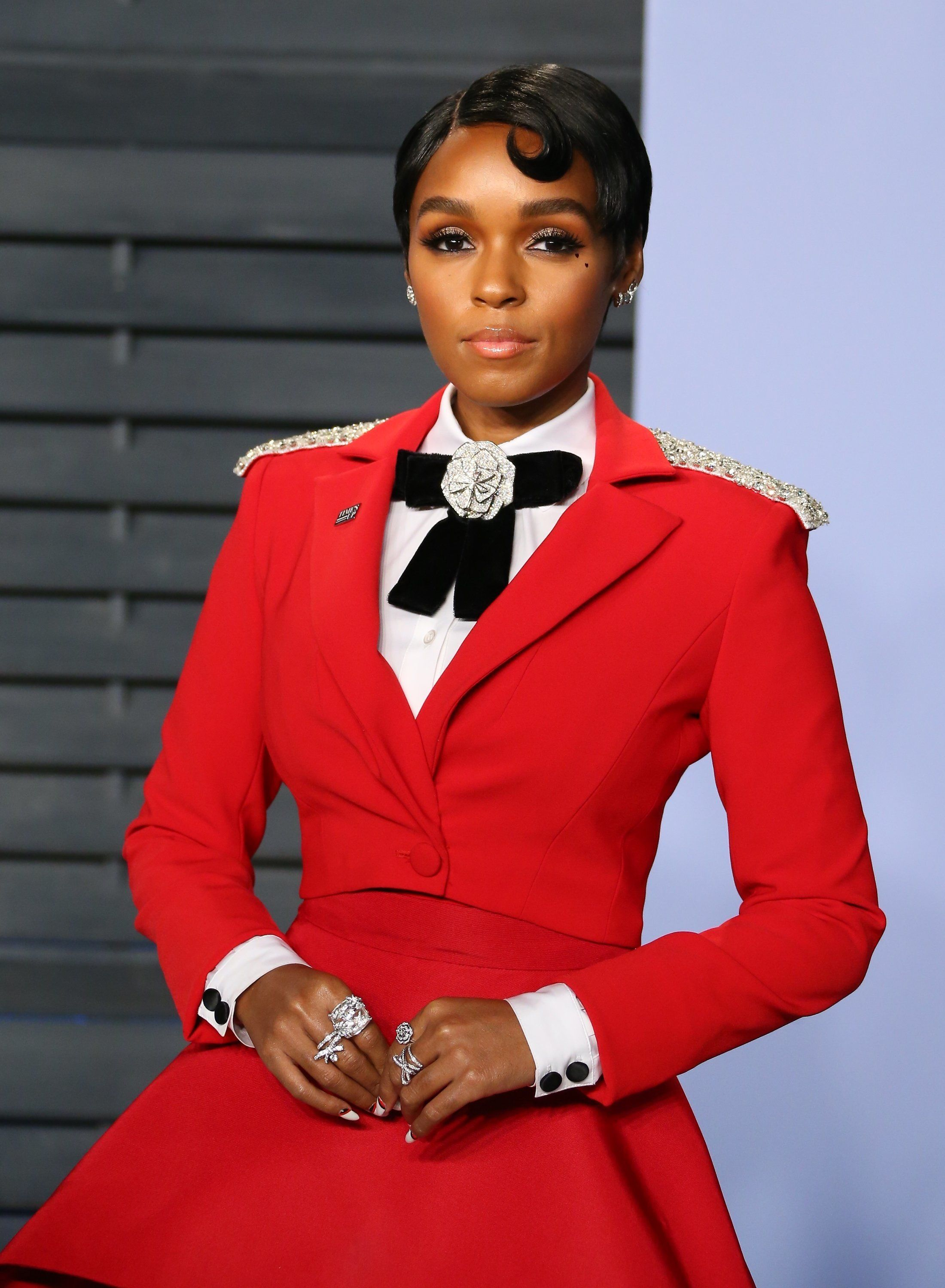 Looks We Love: Janelle Monae Is A Lady In Crimson At The Vanity Fair Oscars Party
