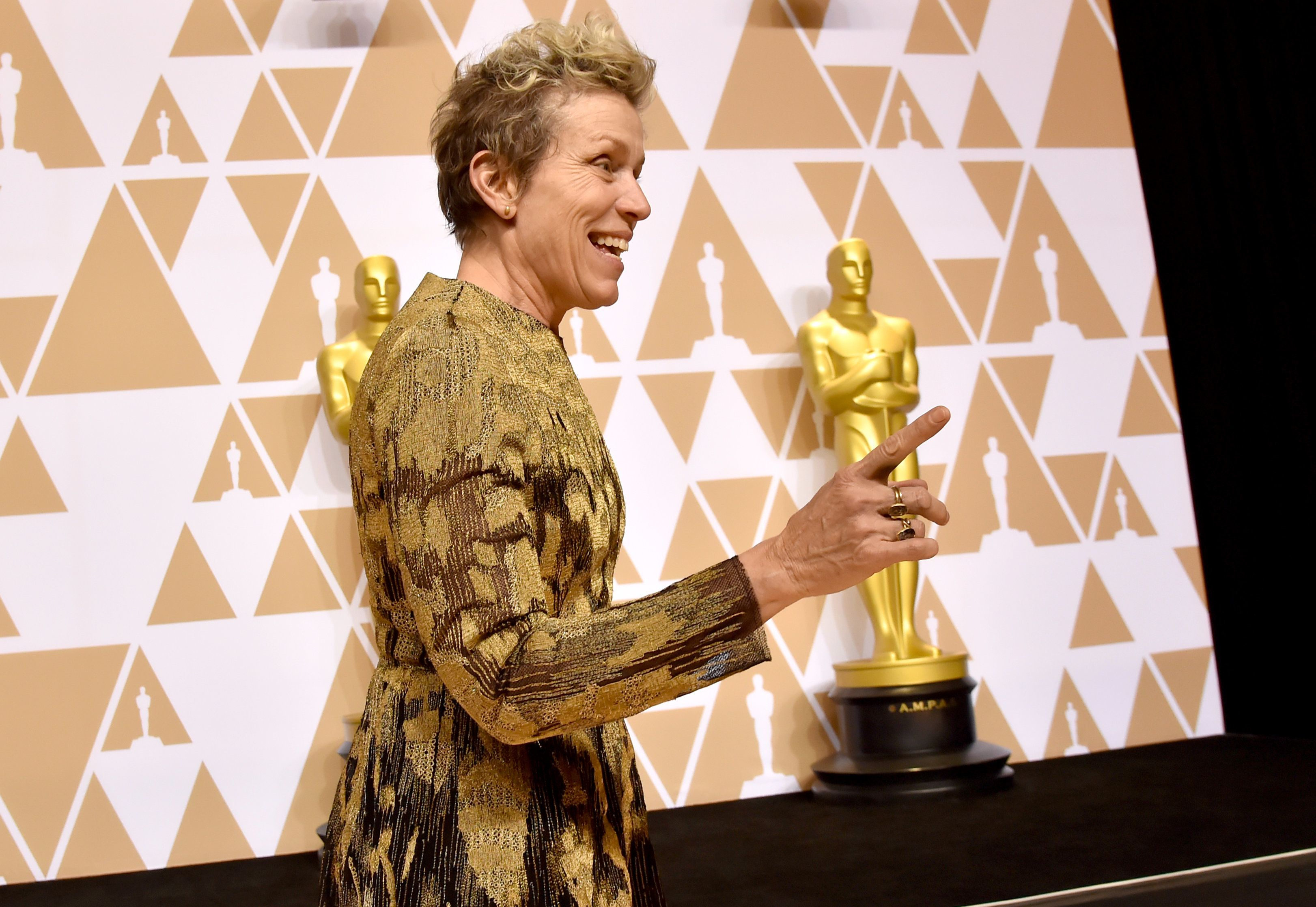 HOLLYWOOD, CA - MARCH 04:  Actor Frances McDormand, winner of the Best Actress award for 'Three Billboards Outside Ebbing, Missouri' poses in the press room during the 90th Annual Academy Awards at Hollywood & Highland Center on March 4, 2018 in Hollywood, California.  (Photo by Jeff Kravitz/FilmMagic)