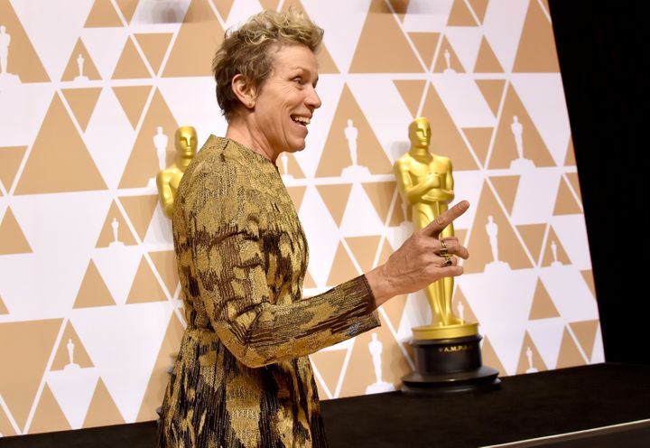 """Frances McDormand, winner of the Best Actress award for """"Three Billboards Outside Ebbing, Missouri,"""" poses in the press room"""