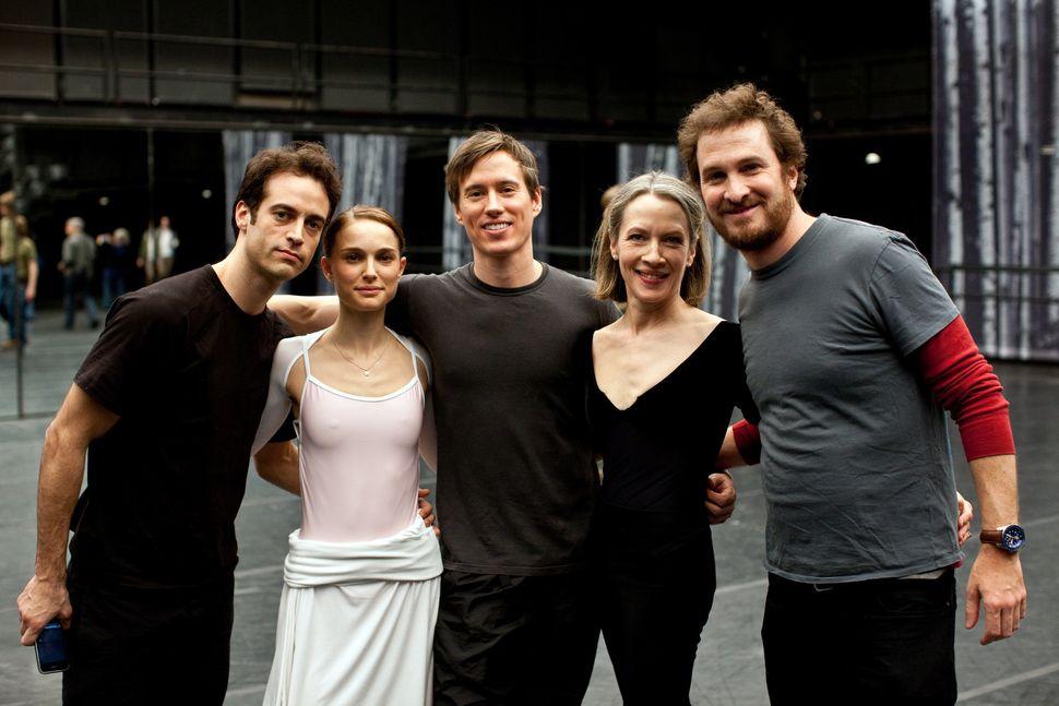 "Benjamin Millepied, Natalie Portman, Kurt Froman, Christine Redpath and Darren Aronofsky on the ""Black Swan"" set."