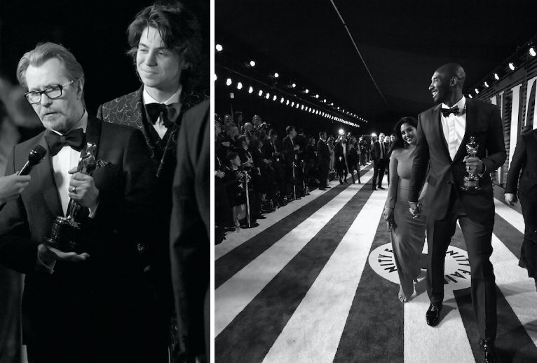 Gary Oldman left and Kobe Bryant right were two of the stars of the 90th Academy Awards on Sunday Night