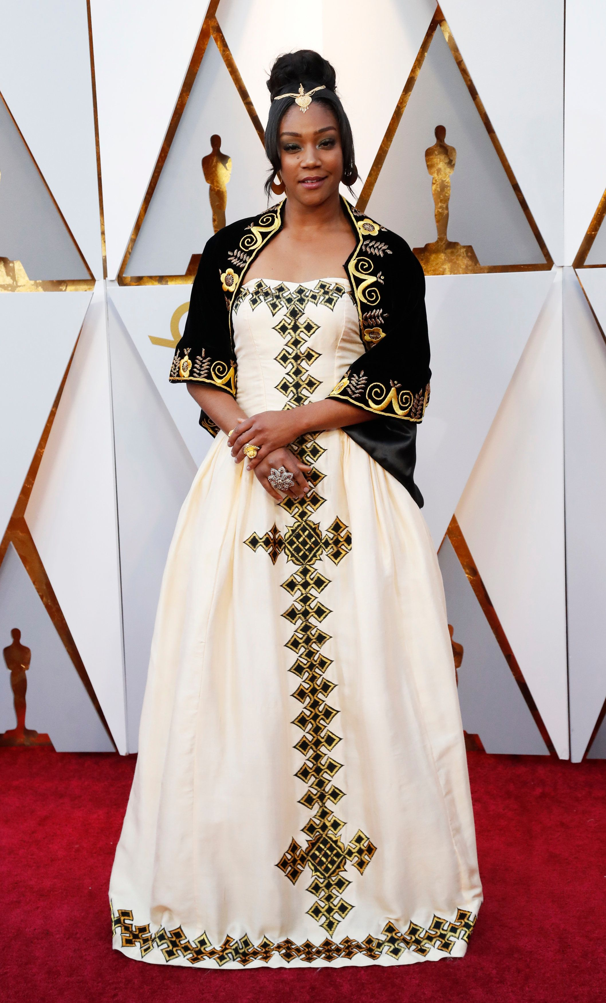 90th Academy Awards - Oscars Arrivals – Hollywood, California, U.S., 04/03/2018 – Tiffany Haddish wears a dress from designer from Eritrea in honor of her father. REUTERS/Mario Anzuoni